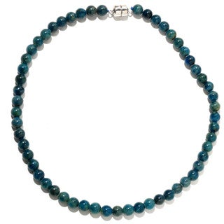 Sterling Silver Apatite Bead Necklace (18 or 36 inches)