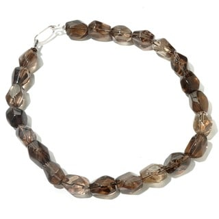 Sterling Silver Smoky Quartz Nugget Necklace (18-inch)