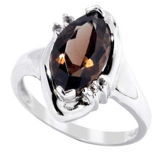 Sterling Silver Smoky Quartz and White Topaz Ring