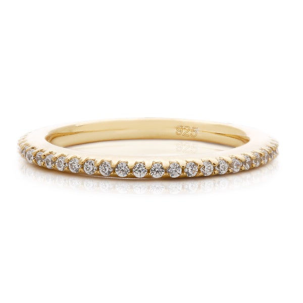 Blue Box Jewels Goldplated 925 Sterling Silver Cubic Zirconia Stackable Band Ring