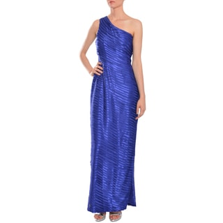 Calvin Klein Women's Cobal Blue Pleated One-shoulder Evening Gown