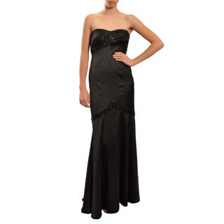 Tadashi Shoji Women's Black Beaded Bolero and Long Gown