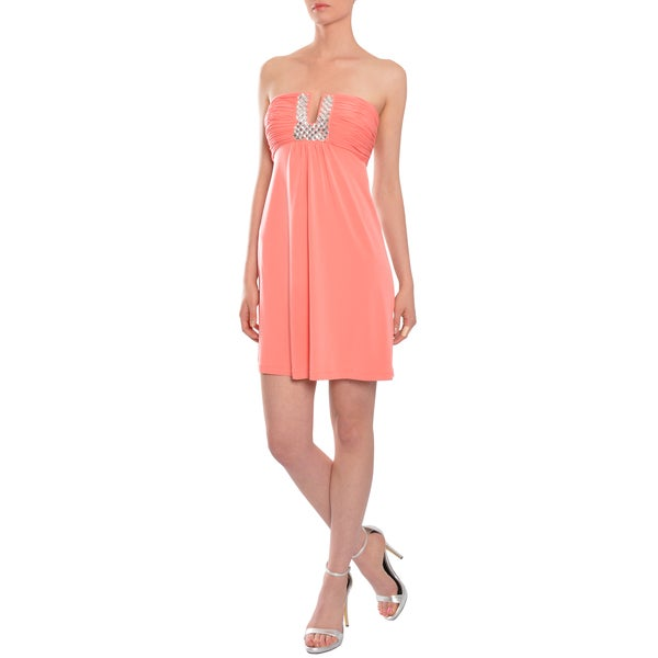 Calvin Klein Women's Coral Beaded Cocktail Dress