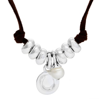 Sunstone Catherine Canino Sterling Silver Freshwater Pearl Beaded Horseshoe Necklace (8 mm)