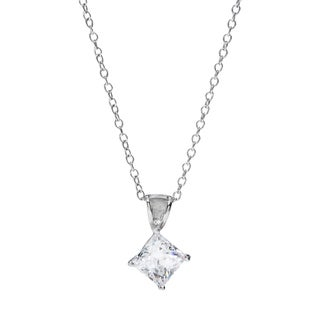 Sunstone Sterling Silver Princess-cut Pendant Necklace Made with Swarovski Zirconia
