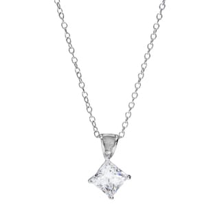 Sunstone Sterling Silver Princess-cut Pendant Necklace made with Swarovski Zirconia with Gift Box