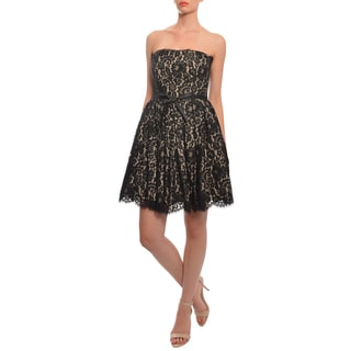Robert Rodriguez Women's Black/ Nude Lace Overlay Crinoline Dress