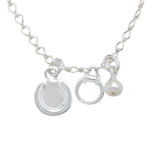 Sunstone Catherine Canino Sterling Silver Freshwater Pearl Horseshoe Necklace (10 mm)