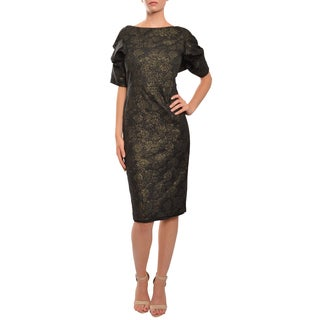 Mark & James by Badgley Mischka Women's Black and Gold Short Sleeve Stretch Dress