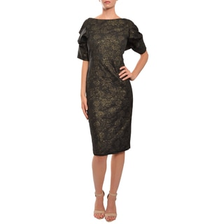Mark & James Women's 'Badgley Mischka' Black and Gold Short Sleeve Stretch Dress