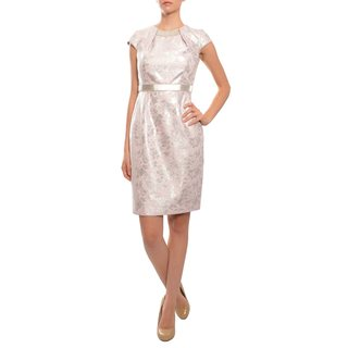 Carmen Marc Valvo Women's Silver Fitted Beaded Brocade Dress