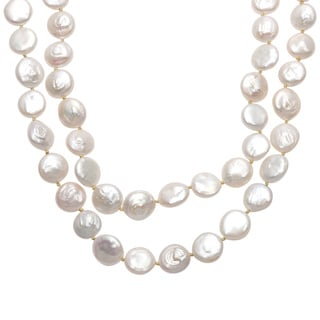 Sunstone Catherine Canino Sterling Silver Freshwater Pearl Coin 2-strand Neckace (14 mm)