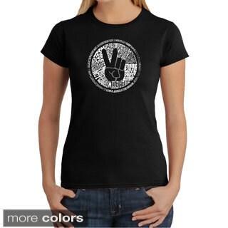 Los Angeles Pop Art Women's 'Make Love Not War' T-shirt