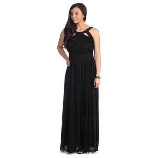 Alex Evenings Women's Black Beaded-neckline Evening Gown