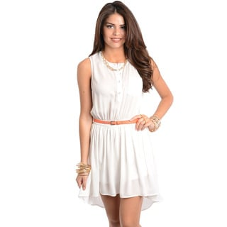 Feellib Women's Ivory Sleeveless Belted Short Dress
