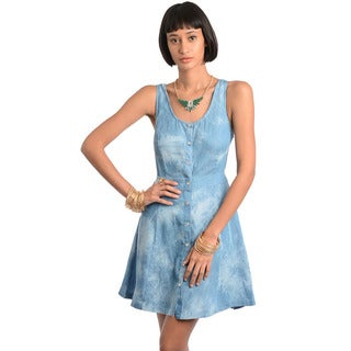 Feellib Women's Blue Denim Sleeveless Cut-out Back Dress