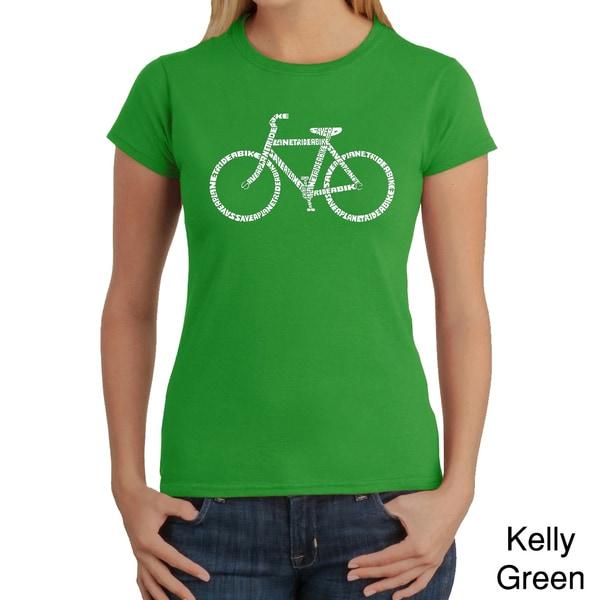 Los Angeles Pop Art Women's 'Save A Planet Bike' T-shirt
