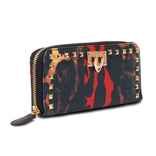 Via 'Byrn' Mixed Leopard Print Zip-around Wallet