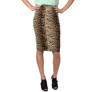Hailey Jeans Co. Junior's Elastic Waist Leopard Print Pencil Skirt
