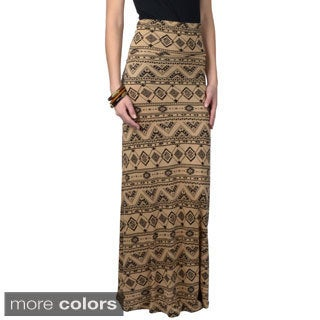 Hailey Jeans Co. Junior's Fold-over Printed Maxi Skirt