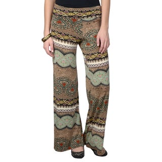 Hailey Jeans Co. Junior's Fold-over Print Palazzo Pants
