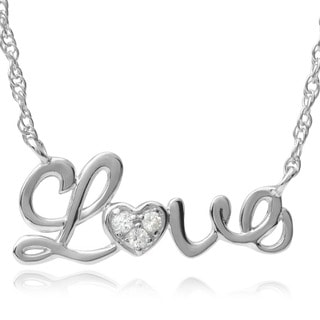 Tressa Collection Sterling Silver Cubic Zirconia Love Pendant