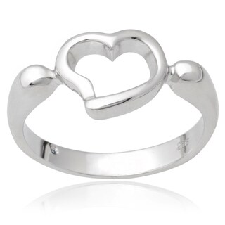 Journee Collection Sterling Silver Cut-out Heart Ring