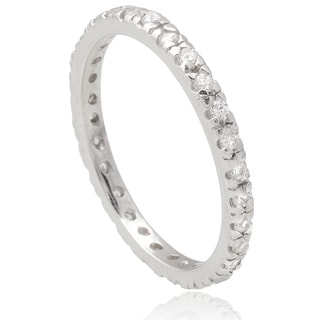 Journee Collection Sterling Silver Cubic Zirconia Eternity Band (2mm)
