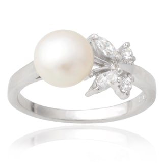 Tressa Collection Sterling Silver Cubic Zirconia Faux Pearl Ring