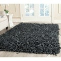 Safavieh Handmade Leather Shag Grey Leather Rug (5' x 8')