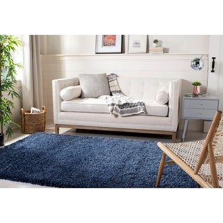 Safavieh California Cozy Solid Navy Shag Rug (5'3 x 7'6)
