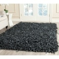 Safavieh Handmade Leather Shag Grey Leather Rug (6' x 9')
