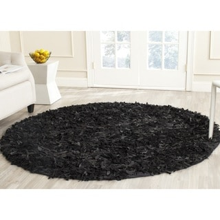 Safavieh Handmade Leather Shag Black Leather Rug (6' Round)