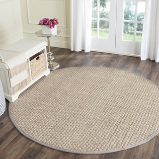 Safavieh Casual Natural Fiber Natural and Grey Border Seagrass Rug (6' Round)