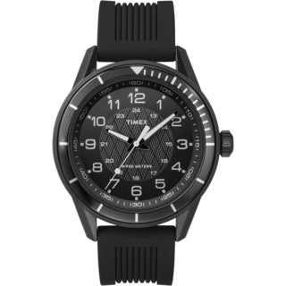 Timex Men's T2P3839J Elevated Classics Dress All Black Silicone Strap Watch