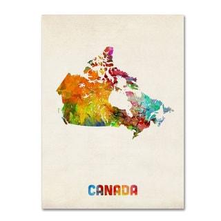 Michael Tompsett 'Canada Watercolor Map' Canvas Art