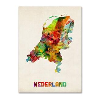 Michael Tompsett 'Netherlands Watercolor Map' Canvas Art