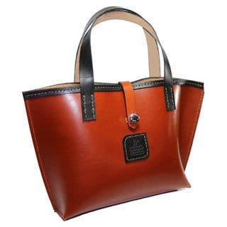 Hand-stitched Fine Chestnut/ Black English Bridle Leather Tote Bag
