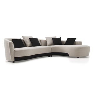 Modern Silver/ Black Right-facing Sectional