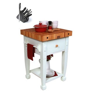 John Boos Jasmine Butcher Block 24x24x36 Table with Henckels 13 Piece Knife Block Set