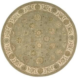 Light Green Wool/Silk Oriental Round Rug (6' x 6')