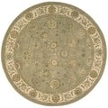 Light Green Wool/Silk Oriental Round Rug (6' x 6')