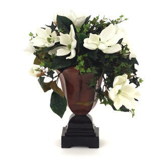 24-inch Traditional Cream Magnolias with Brown Container