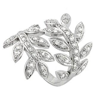 Beverly Hills Charm 14k White Gold 3/4ct TDW Spiral Leaf Diamond Ring (H-I, I2-I3)