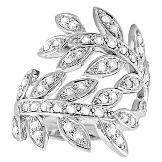 Beverly Hills Charm 14k White Gold 3/4ct TDW Spiral Leaf Diamond Ring (H-I, I2-I3)