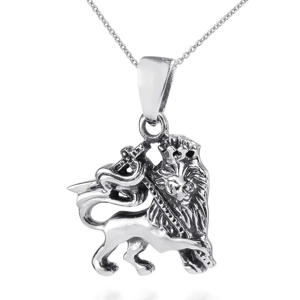 Rasta Lion of Judah .925 Sterling Silver Pendant (Thailand)