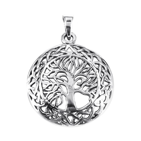 Mystic Celtic Frame Tree of Life Sterling Silver Pendant (Thailand)