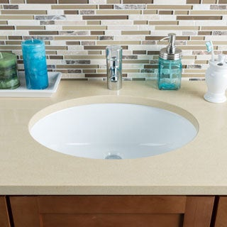 Hahn Ceramic Large Oval Bowl Undermount White Bathroom Sink