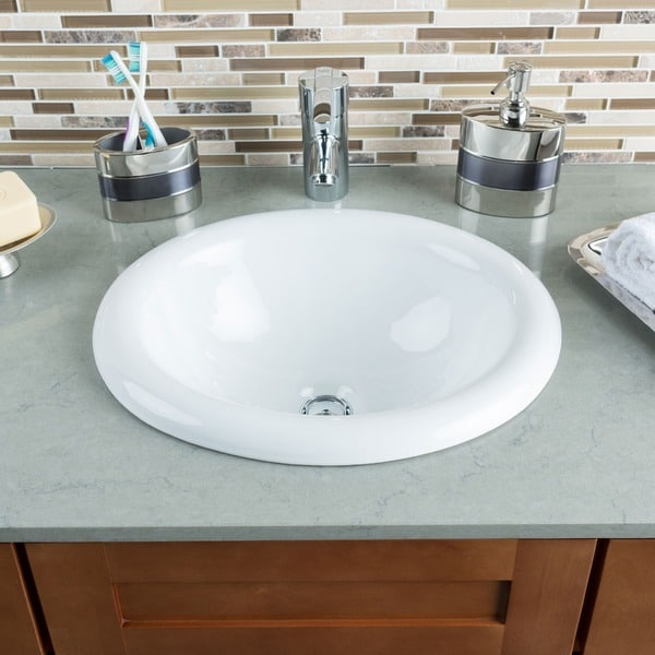 Hahn Ceramic Medium Oval Bowl White Bathroom Sink