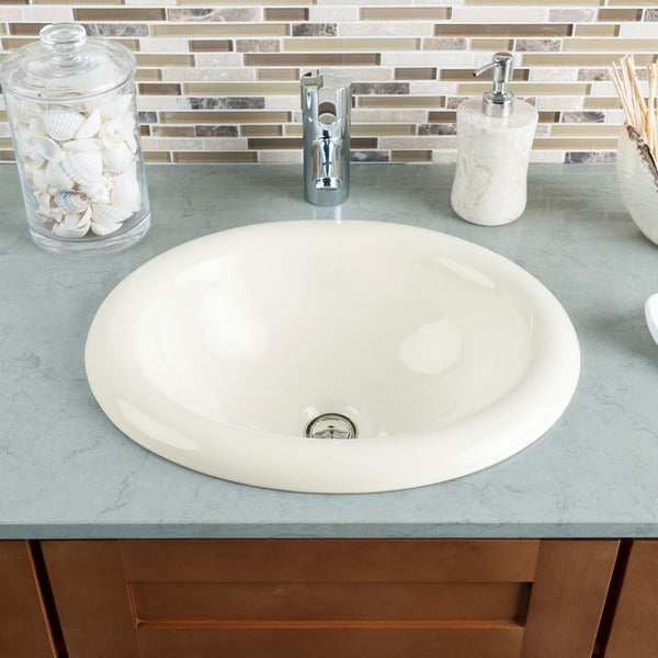 ... Sinks P5181OB Bisque Porcelain Vessel / Drop-In Bathroom Vanity Sink